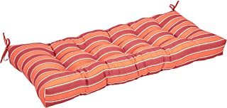AmazonBasics Tufted Outdoor Patio Bench Cushion- 44 x 18 x 4 Inches, Red Stripe