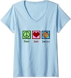 Womens Peace Love Pottery V-Neck T-Shirt
