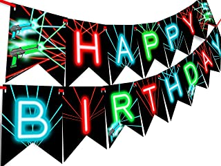 Laser Tag Happy Birthday Banner Pennant - Laser Tag Party Supplies - Laser Tag Decorations - Brights Banner