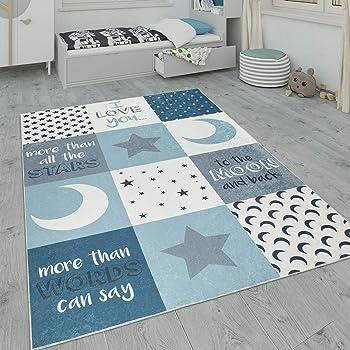 Kinderteppich Spielteppich Babyteppich Junge Stern Mond in blau hellblau t/ürkis Gr/ö/ße 120 cm Rund
