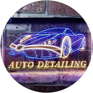 Auto Detailing Car Repair Garage Dual Color LED Neon Sign Blue & Yellow 300 x 210mm st6s32-s0233-by