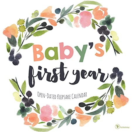 """TF Publishing - Baby's First Year Floral Open-Dated Keepsake Wall Calendar - DIY Personalize & Customize - Floral Design - Start with Any Month - Record Milestones - Stickers Included - 12 x 12"""""""