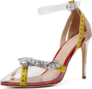 Mayou Clear Heels with Ankle Strap, Fashion High Heel Pointed Toe Dress Pumps Shoes Transparent with Clear Lucite Strappy Bukle Stilettos for Glamour, Party, Shopping