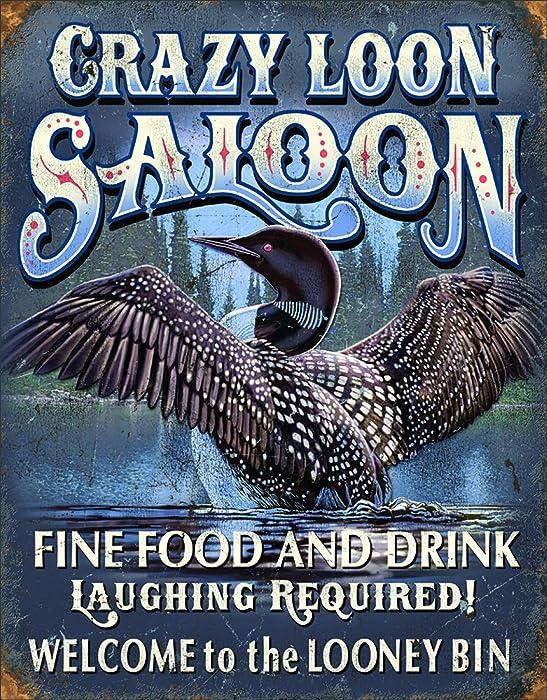 Desperate Enterprises Crazy Loon Saloon Tin Sign, 12.5