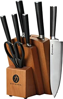 Ginsu Chikara Series Fully Forged 8-Piece Japanese Steel Knife Set – Cutlery Set with 420J Stainless Steel Kitchen Knives – Toffee Finish Block, 07138DS