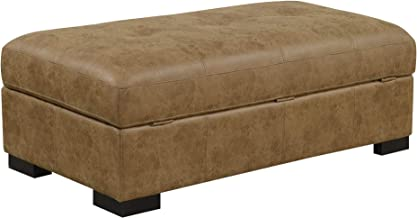 Kumara Ottoman in Peruvian Brown with Hidden Storage And Faux Leather Upholstery, by Artum Hill