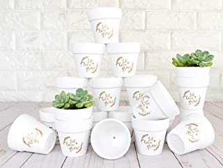 Small Mini Clay Pots 2.5 inch White Ceramic Pots Pottery Planter Cactus Succulent Nursery Flower Pots Great for Plants, Crafts, Wedding Bridal Favors in Matte White Bisque (Gold Print Let Love Grow)