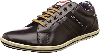 Lee Cooper Men's Lc1283ebrown Leather Sneakers