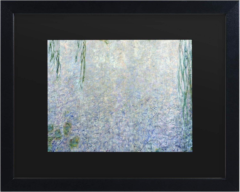 Trademark Fine Art Waterlillies Morning II by Claude Monet, Matte, Black Frame 11x14