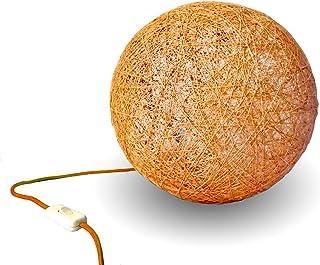 Lámpara de sobremesa sphere naranja, lámpara de suelo redonda, decorativa de hilo de algodón, artesanal, hecha a mano. TAB...