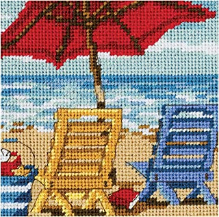 Dimensions Needlepoint Kit, Beach Chair Ocean Day Needlepoint, 5'' W x 5'' H