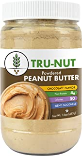 Tru-Nut Powdered Peanut Butter (38 servings, 16oz jar) Good Source of Plant Protein - Gluten Free, Non-GMO, Vegan - Chocolate Flavor