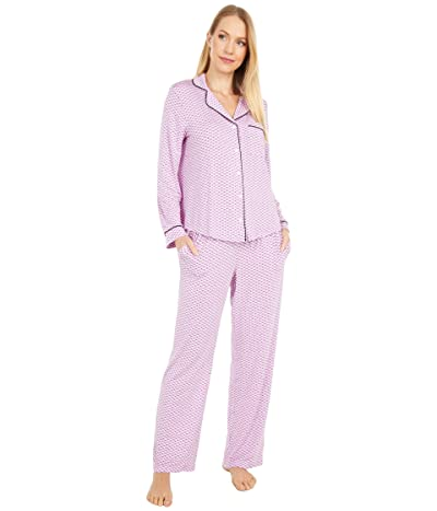 Kate Spade New York Modal Jersey Notch Collar Long Pajama Set (Dotty Stripe) Women