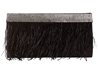 Jessica McClintock Francine Feather Clutch (Black) Handbags