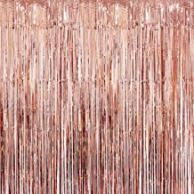 Rose Gold Foil Fringe Curtain – Party Décor | Beautiful Rose Gold Party Decorations Supplies | Metallic Tinsel Fringe Backdrop for Wedding Décor, Anniversary, Bridal Shower | Backdrops for Parties