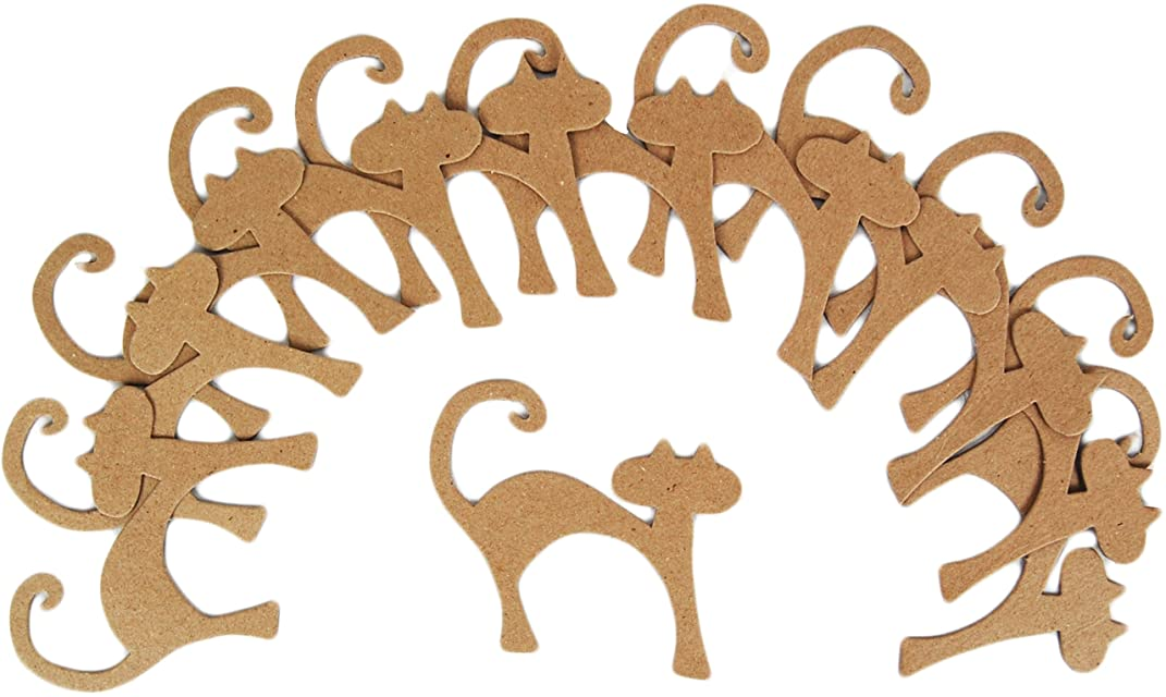 Country Love Crafts Papier Mache Papier Mache Flat Cat Pack of 12,manila