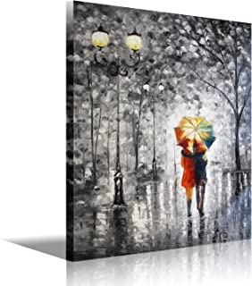 Black and Whtie Wall Art Romantic Painting of Couple with Umbrella Walking on The Tree Modern Abstract Landscape Paintings Pictures Giclee Canvas Art Print Artwork Framed Wall Decoration