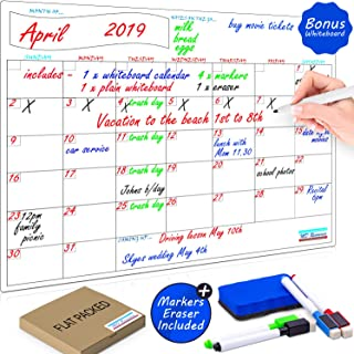 Magnetic Whiteboard Dry Erase Calendar Set by PlanNow for Refrigerator- Bonus Plain Whiteboard and 4 Magnetic Fine Tip Dry Erase Markers and Eraser Included - 17 x 13 inches