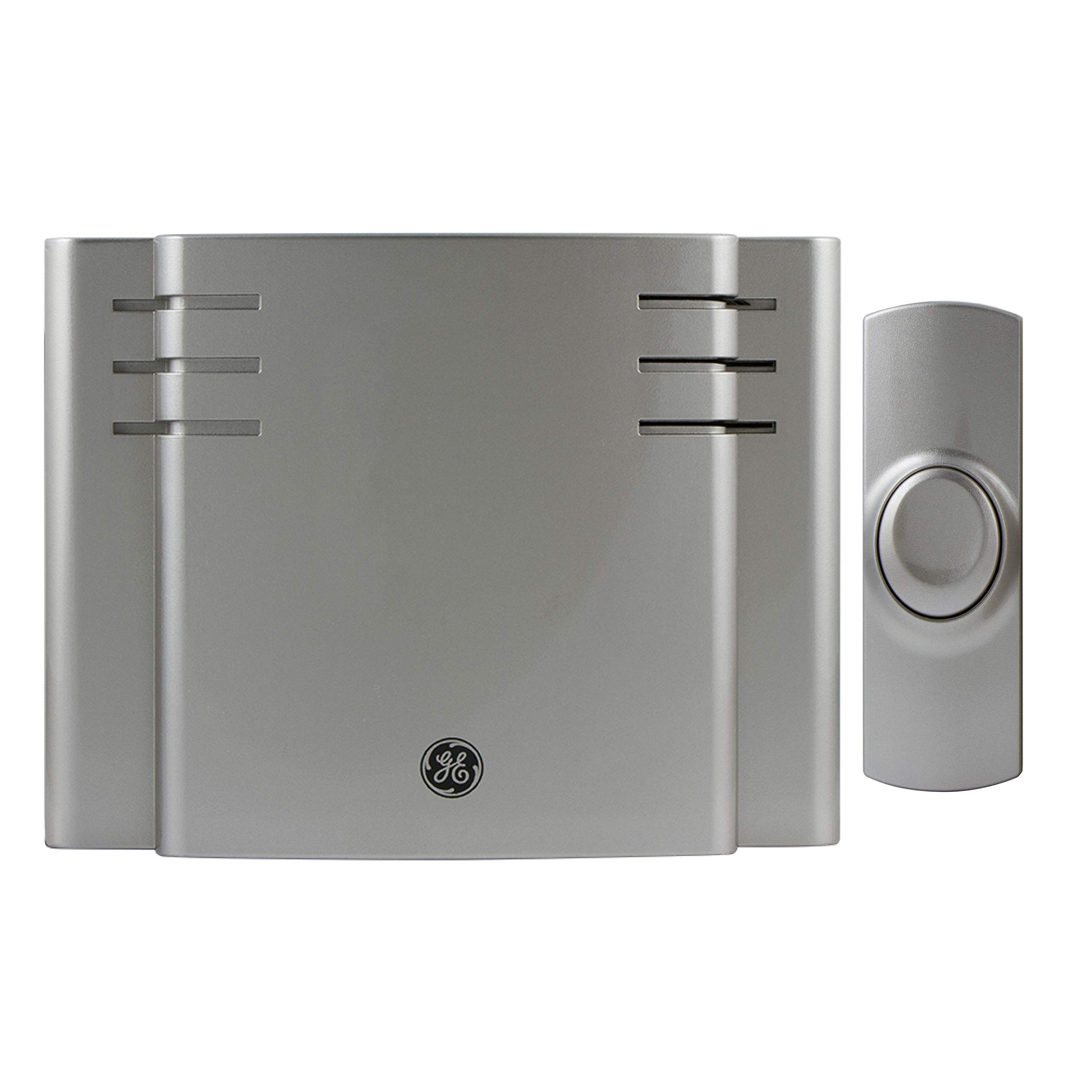 GE Wireless Doorbell Kit, 8 Chime Melodies, 1 Receiver, 1 Push Button, Battery-Operated, 150-Foot Range, Satin Nickel, 19303