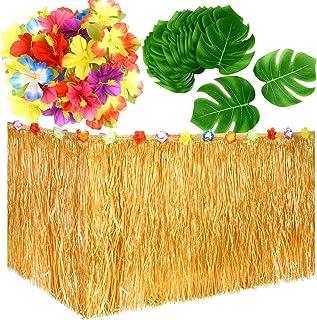 KUUQA Luau Hawaiian Grass Table Skirt and 48 Pcs Artificial Tropical Palm Monstera Leaves Hibiscus Flowers for Aloha Tiki ...