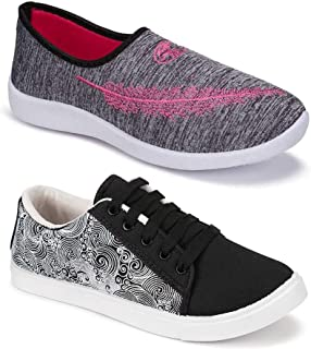 Shoefly Women's (5046-5051) Multicolor Casual Sports Running Shoes (Set of 2 Pair)