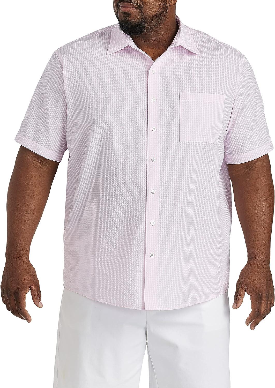 Oak Hill by DXL Big and Tall Seersucker Mini Gingham Sport Shirt, Pink