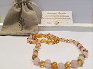 Teething Necklace 12.5 inches AND Bracelet 5.5 inches Baltic Amber for Babies (Unisex) (Honey Multi Cherry Black Red Milk White Butter Yellow Cognac Brown Turquoise Pink Quartz Amethyst Lemon) - Baby, Infant, and Toddlers will all benefit. Polished Anti Flammatory, Drooling & Teething Pain Reduce Properties - Natural Certificated Round Baroque Baltic Jewelry with the Highest Quality Guaranteed. Easy to Fastens with a Twist-in Screw Clasp Mothers Approved Remedies! (Polished Pink Quartz Rose Lemon Set)