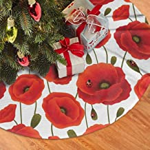 NEWY1 Christmas Tree Skirt, Like Poppy Red Flowers with Ladybugs Tree Mat Xmas Snowman Festive Decor Ornaments Party Supplies 48