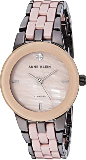 Women's Genuine Diamond Dial Light Gunmetal and Taupe Ceramic Bracelet Watch, AK/1611GYTP