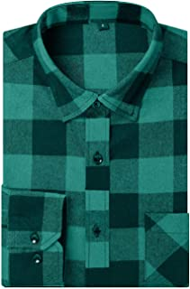 Men's Dress Buffalo Plaid Checkered Fitted Long Sleeve Flannel Shirts