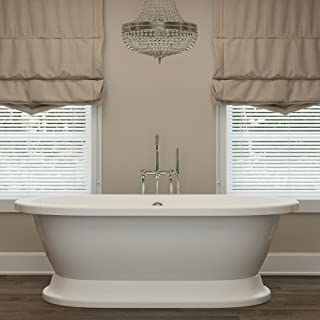 Luxury 67 inch Freestanding Tub with Modern Tub Design in White, Includes Pedestal Base and Polished Chrome Drain, From The Crestmont Collection