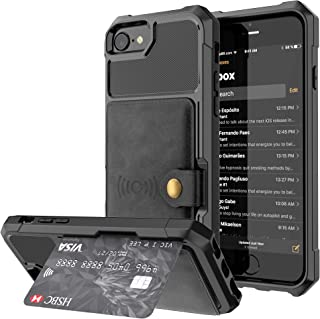 Wallet Card Case for Apple iPhone 8 7 6 6s,Leather Credit Card Cash Slot Protective Cover Durable Shell Kickstand Men Women Black