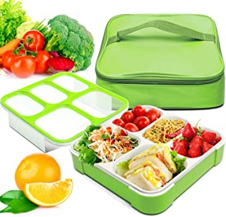 Bento Box, Fun life lunch box, Eco-Friendly, BPA Free, 5 Separated Compartments,Leakproof Container & Airtight Lid, For Healthy, Dry & Liquid Food, Portion Control, Meal Prep, Adults & Kids