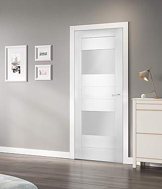 Solid French Door Opaque Glass 2 Lites 24 x 84 inches/Sete 6222 White Silk/Single Regular Panel Frame Handle/Bathroom Bedroom