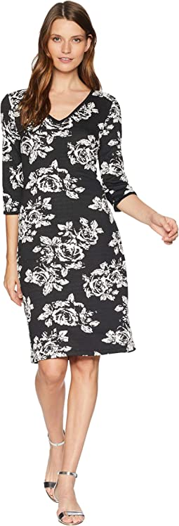 Rose Printed V-Neck Midi Dress