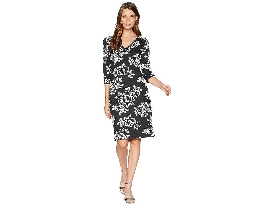 Taylor Rose Printed V-Neck Midi Dress (Black/Ivory) Women