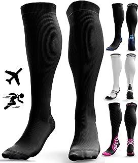Compression Socks for Men & Women - Anti DVT Varicose Vein Stockings - Running - Shin Splints Calf Support - Flight Travel - L/XL
