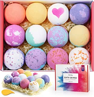 Homasy Bath Bombs, 12 Pcs Bath Bomb Gift Set with Natural Essential Oils, Shea Butter, Sea Salt, SPA Bubble...