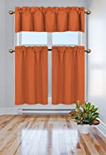 Elegant Home Collection 3 Piece Solid Color 90% Blackout Kitchen Window Curtain Set with Tiers and Valance Solid Thermal Room Darkening Drape Window Treatment # R3 MF (Orange)