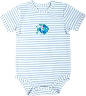 Stephan Baby Snapshirt-Style Diaper Cover, Blue Stripe Rainbow Fish, 3-6 Months