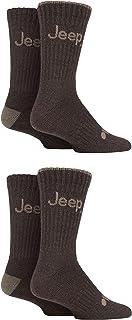 Jeep Mens Performance Plain Ribbed Socks Pack of 4