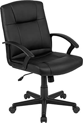 Flash Furniture Flash Fundamentals Mid-Back Black LeatherSoft-Padded Task Office Chair with Arms