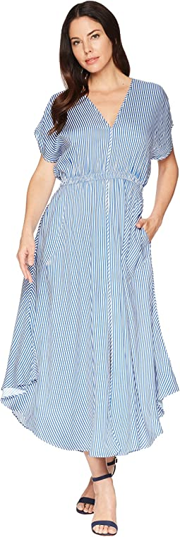 Toe the Line Rayon Twill Flutter Stripe Maxi