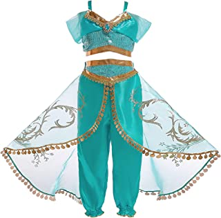 Mooler Girls Princess Jasmine Dress Up Costumes Halloween Party Fancy Dress