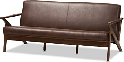 Baxton Studio 3-Seater Sofa in Walnut and Dark Brown