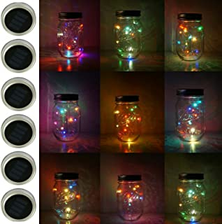 6 Pack Mason Jar Lights, 10 LED Solar Colorful Flicker Fairy String Lights Lids Insert for Garden Deck Patio Party Wedding Decorative Lighting Fit for Regular Mouth Jars