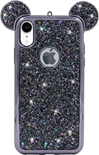 iPhone XR Case, MC Fashion Cute Sparkly Bling Glitter 3D Mickey Mouse Ears Soft TPU Rubber Case Teens Girls Women for Apple iPhone XR (2018) 6.1-Inch (Black)