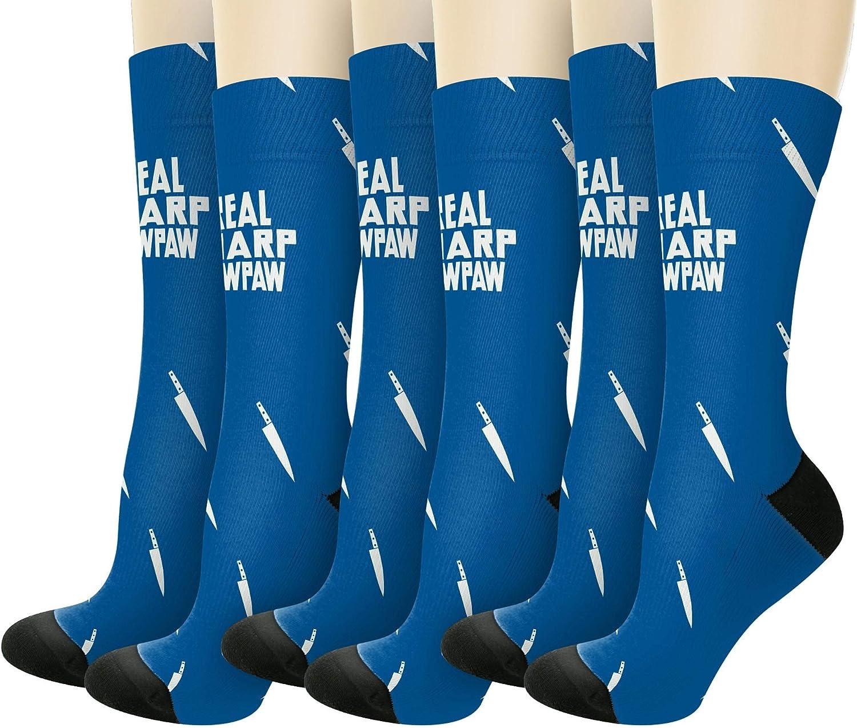 Real Sharp Paw Paw Knife Pun Novelty Crew Socks