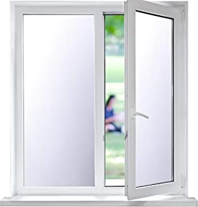Funfox Window Privacy Film, No Glue Frosted Window Film for Glass, Opaque Door Window Covering, Static Cling Vinyl Window Film for Home Bathroom Office,17.5