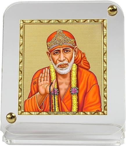 Eknoor Gold-plated Foil On Acrylic Base Car Dashboard Idol- Gold-plated Recta Sai Baba Ji With Japa Mala, Standard, G...